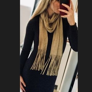 Stay Trendy This Fall! Suede Fringed Scarf